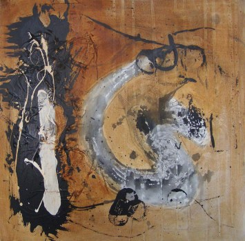 Untitled-5 acrylic ink and mixed media on canvas, 2ft sq